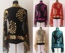 Top New Sexy Lady Women Beaded Sequin Shawl/Scarf Wraps Peacock&Flower Purple..