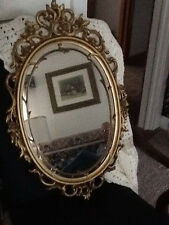Vintage Home Interiors ORNATE Oval Gold Decorative WALL  Mirror Roses & scrolls