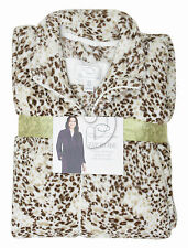 New Oscar de la Renta Classic Plush Zip Robe Blue Brown Animal Print  S / M