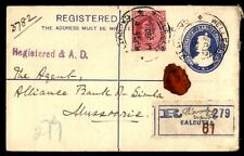 India Calcutta to Mussoorie 1912 Uprated Registered Stationery Cover