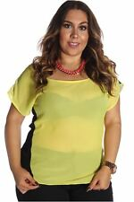 DEALZONE Lovely Chiffon Two Tone Top 1X Women Plus Size Yellow Casual