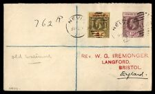 Leeward Islands Nevis to Bristol England 1927 2 Color Franking on Cover
