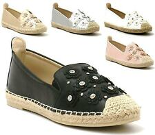 LADIES SLIP ON FLAT ESPADRILLES SUMMER SHOES DAISY STUD ROCK CASUAL PUMPS SIZE
