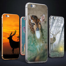 Sika Deer Print Phone Case Cover for iPhone 5 6S 7 Plus Samsung Galaxy Dazzling