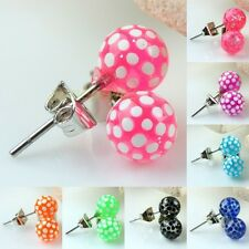 Pair 6mm Polka Dots Round Ball Beads Stainless Steel Stud Ear Earrings Jewelry