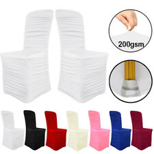 50pcs Ruched Chair Cover Lycra Spandex Flat Front Wedding Party Banquets Decor