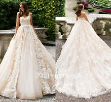 2017 New Luxury Lace Applique Wedding Dresses With Detachable Train Bridal Gown