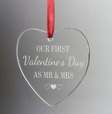 Personalised First Valentines as Mr and Mrs Hanging Glass Heart Engraved Gift