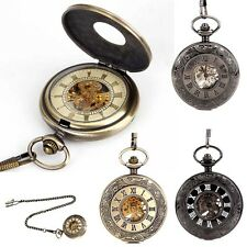 Antique Mechanical Skeleton Steampunk Pendant Watches Pocket Watch Gift Chain