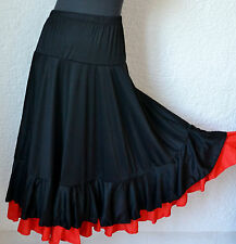 Black Spanish flamenco practice dance skirt Red/Black  double ruffle/frill S M L