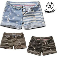 Brandit Ladies Hotpants Denim Stars&Stripes Jeans Hot Pants Shorts NEU