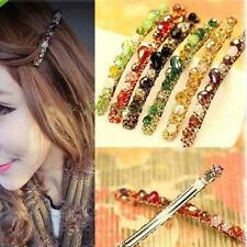Lady  Women's Rhinestone Crystal  Flower Metal Hair Pin Barrette Hairpin Clip 2x