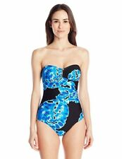 NWT Calvin Klein Tie Dye Bar Bandeau One-Piece Swimsuit Black and Blue Size 6-16