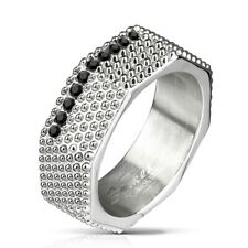 Stainless Steel 0.2 Carat Black CZ Studded Octagon Ring Size 9-13