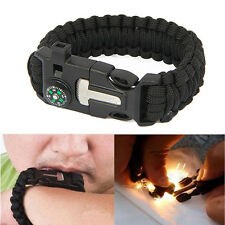 Survival Bracelet Paracord Flint Fire Starter Scraper Whistle Gear Kits Camping