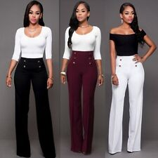 New Women Casual High Waist Flare Wide Leg Long Pants Palazzo Trousers Hot