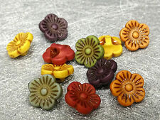 11mm 50/100/200/500pcs ASSORTED ANCIENT COLORS ACRYLIC FLOWER BEADS FF5443