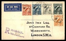 New Guinea Rabaul 1932 Registered Airmail Cover 5 Color Franking