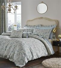Opulent Jacquard Duvet Quilt Cover Set, Double King Size Bedding, Duckegg
