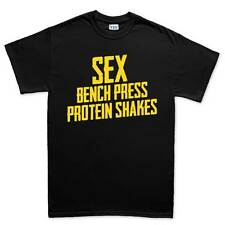 Sex Bench Press Gym Protein Fitness Training Mens T shirt Tee Top T-shirt