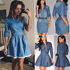 Womens Slim Mini Dress Denim Jean Party Long Sleeve Swing Skirts Skater Dress