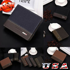 Mens Leather Bifold Money ID Card Holder Wallet Coin Purse Clutch Pockets Bags
