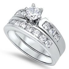 Sterling Silver Round CZ Women's Channel Set Wedding Set Engagement Ring Set