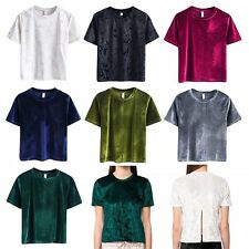 Sexy Womens Casual Short Sleeve Loose Velvet Basic Solid Blouse Tee T-shirt Tops