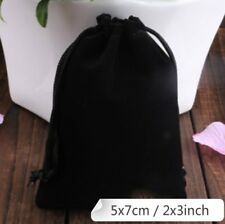 Black Velvet Drawstring Square Jewellery Packaging Pouches Gift Bags 5 x 7 cm