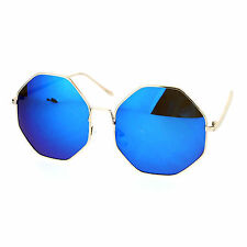 Oversized Octagon Shape Sunglasses Womens Shades Mirror Lens UV 400