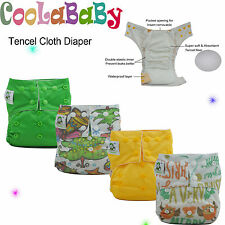 Coolababy Reusable One size Baby Tencel Pocket Cloth Diaper lot +  Insert