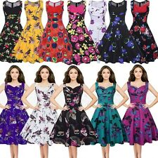 50s Rockabilly Classic Vintage Womens Swing Housewife Pin Up Cocktail Dress 8-20