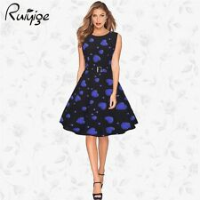 New Womens Evening Party Swing 1950s 60s Vintage Print Style Rockabilly Dress