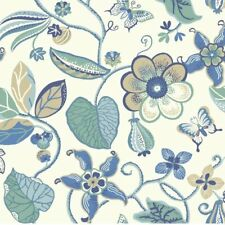 """York Wallcoverings Carey Lind Vibe Sea Removable 27' x 27"""" Floral Wallpaper"""