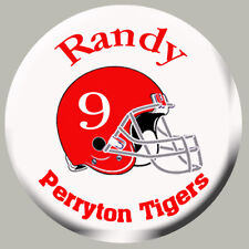 Football Zipper Pull, Pin, or Magnet Graphics Name, Team Name,Number, and Color.
