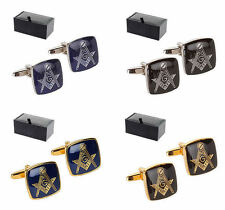 Masonic G Compass and Square Enamel Face Cufflinks Gift Boxed Freemason