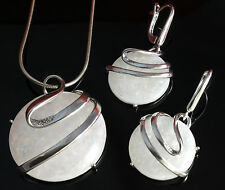 Real 925 Silber JEWELRY SET, PENDANT +Earrings With Opal, white, Fire Opal
