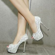 Chic Lace Peep Toe Pump Platform Stiletto High Heel Womens Glitter Shallow Shoes