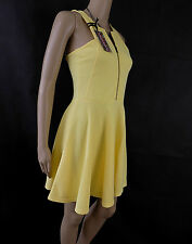 BNWT River island Front zip FIT & FLARE YELLOW SUMMER  Dress size 12 only