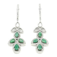 Gorgeous Natural Top Rich Green Emerald White Cz 925 Sterling Silver Earrings Nr