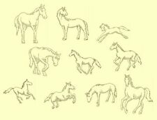 Horses Redwork & Trapunto Machine Embroidery CD-40 Designs-by Anemone Embroidery