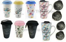 Vintage Insulated Double Walled Travel Mug Cup Ceramic Silicone Lid Take Away