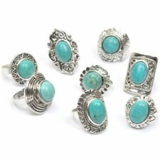 SILVER TURQUOISE STYLE RINGS Chunky Tribal Sheild Imitation Howlite Adjustable