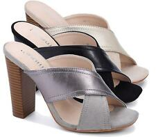 WOMENS LADIES MULES HIGH BLOCK HEEL PEEP TOE CUT OUT SUMMER PARTY SANDALS SHOES