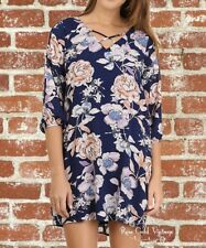 NWT Boutique Umgee Open Sleeve Floral Dress - Cobalt - Small, Medium & Large
