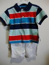 Nautica Baby Boy' Striped Polo Shirt and Shorts Set Outfit Size 3-6M 6-12M NWT