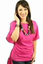 DEALZONE Lovely Ribbon Tie Top L Large Women Pink Career Short Sleeve