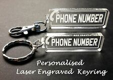 Personalised Mobile Phone Number Keyring / Bag Tag - Great Gift Idea