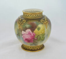Royal Worcester Hadley Roses Style Melon Fluted Squat Vase