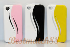 for iPhone 4 4s pink black yellow white case cover heart openig screen film//